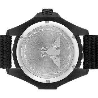 KHS Tactical Watches KHS Einsatzuhr Landleader Black Steel mit Silikonband Tan