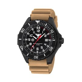 KHS Tactical Watches Landleader Black Steel mit Diver Armband Tan | KHS.LANBS.DT