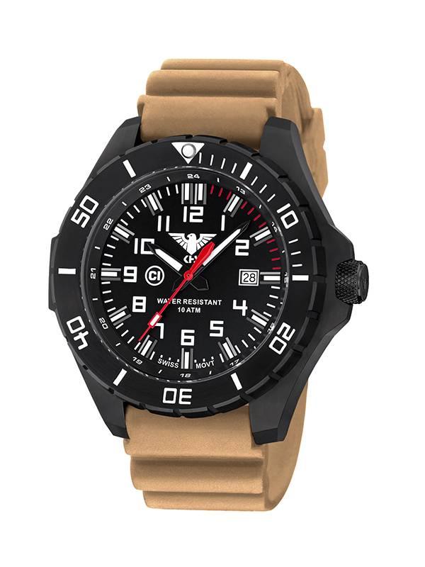 khs tactical watches landleader black steel diver