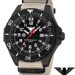 KHS Tactical Watches KHS Tactical Watches Landleader Black Steel Natoband XTAC | KHS.LANBS.NXTLT5