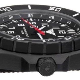 KHS Tactical Watches KHS Tactical Watches Landleader Black Steel Leder Kraftband | KHS.LANBS.LK