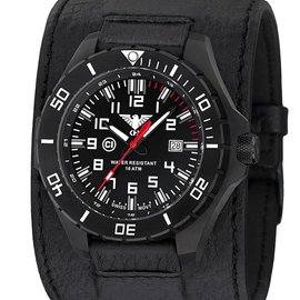 KHS Tactical Watches KHS Tactical Watches Landleader Black Steel Leder Kraftband