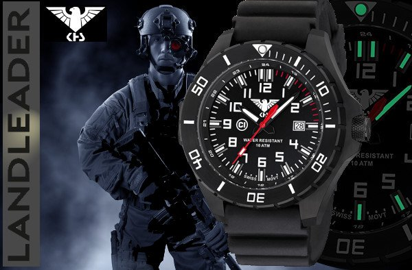 Ksh Uhren khs tactical watches landleader black steel with buffalo leather