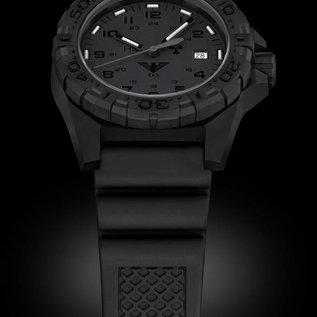 KHS Tactical Watches KHS Tactical Watches KHS Reaper XTAC mit schwarzen Lederband G-Pad | Red HALO H3 Leuchtsystem