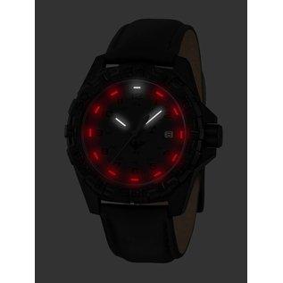 KHS Tactical Watches KHS Tactical Watches KHS Reaper XTAC mit schwarzen Lederband   Red HALO H3 Leuchtsystem