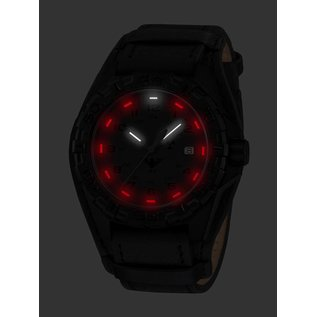 KHS Tactical Watches KHS Tactical Watches KHS Reaper XTAC mit schwarzen Lederband G-Pad | Red HALO H3 Leuchtsystem
