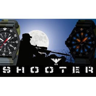 KHS Tactical Watches Shooter H3 Military Watches with Diver Strap black
