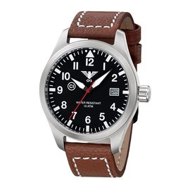KHS Tactical Watches Pilot Watch Airleader Steel Leather Brown KHS.AIRBS.LB5