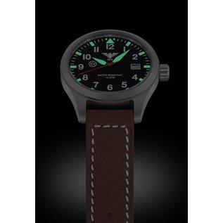 KHS Tactical Watches KHS Fliegeruhr Airleader Steel Lederband Büffel-Leder Braun   KHS.AIRS.LB5