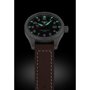 KHS Tactical Watches  KHS Pilot Watch Airleader Steel Leather Brown | KHS.AIRS.LB5