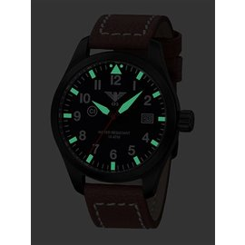 KHS Tactical Watches KHS Fliegeruhr Airleader Black Steel Lederband Büffel-Leder Braun