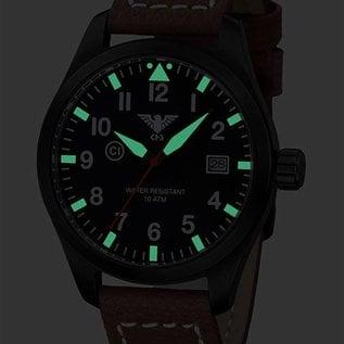 KHS Tactical Watches KHS Fliegeruhr Airleader Black Steel Lederband Büffel-Leder Braun   KHS.AIRBS.LB5