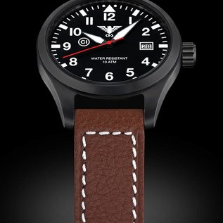 KHS Tactical Watches  KHS Pilot Watch Airleader Black Steel Leather Brown | KHS.AIRBS.LB5