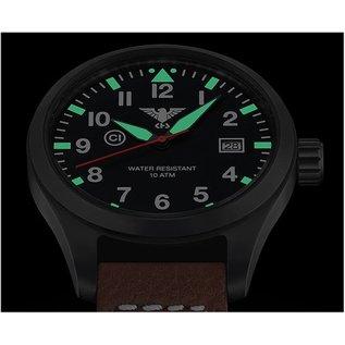 KHS Tactical Watches KHS Fliegeruhr Airleader Black Steel Lederband Büffel-Leder Black | KHS.AIRBS.LBB