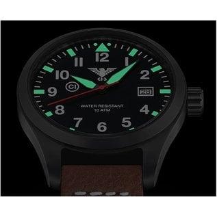 KHS Tactical Watches  KHS Pilot Watch Airleader Black Steel Leather Black | KHS.AIRBS.LBB