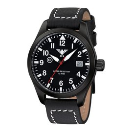 KHS Tactical Watches Pilot Watch Airleader Black Steel Leather Black