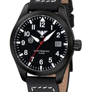 KHS Tactical Watches KHS Fliegeruhr Airleader Black Steel Lederband Büffel-Leder Black | KHS.AIRBS.LBB
