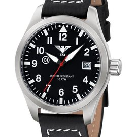 KHS Tactical Watches KHS Fliegeruhr Airleader Steel Lederband Büffel-Leder Black