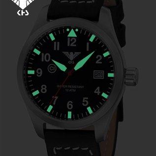 KHS Tactical Watches KHS Fliegeruhr Airleader Steel Lederband Büffel-Leder Black | KHS.AIRS.LBB