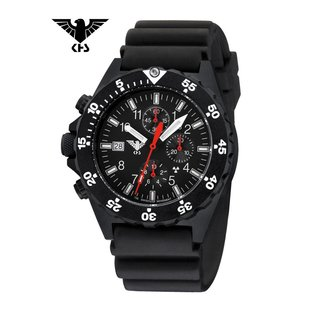 KHS Tactical Watches KHS Shooter Chronograph mit Diver Armband Black | KHS.SHC.DB