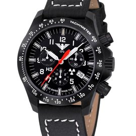 KHS Tactical Watches Black Platoon LDR Chronograph | buffalo leather strap