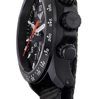 KHS Tactical Watches Black Platoon LDR H3 Chronograph mit schwarzen Büffel-Lederband