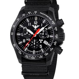 KHS Tactical Watches Black Platoon LDR Chronograph | Nato strap