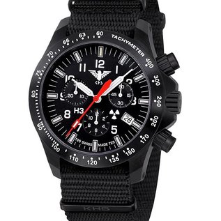 KHS Tactical Watches Black Platoon LDR H3 Chronograph mit schwarzen Nato Armband