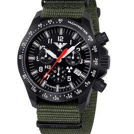 KHS Tactical Watches Black Platoon LDR Chronograph | Nato strap oliv