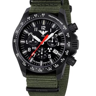 KHS Tactical Watches Black Platoon H3 LDR Chronograph with green nato strap