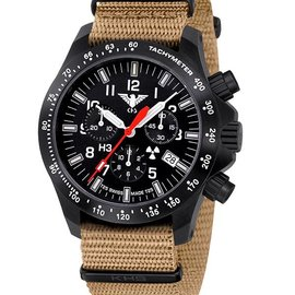 KHS Tactical Watches Black Platoon LDR Chronograph | Nato strap tan