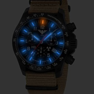 KHS Tactical Watches Black Platoon LDR H3 Chronograph mit Nato Armband Tan