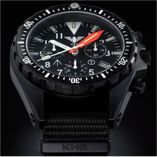 KHS Tactical Watches Missiontimer 3 Operation Timer Chronograph mit schwarzen Diverband  KHS.MTAOTC.DB