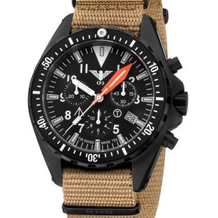 KHS Tactical Watches KHS Missiontimer 3 Chronograph with Nato Band TAN, KHS.MTAOTC.NT