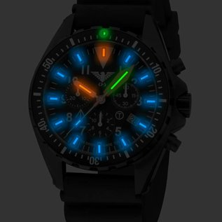 KHS Tactical Watches Missiontimer 3 Operation Timer Chronograph mit schwarzen Diverband| KHS.MTAOTC.DB