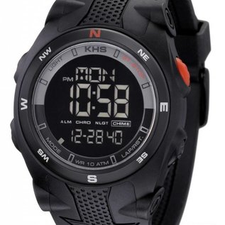 KHS Tactical Watches Sentinel DC - Digital Alarm Chronograph mit Digital Compass KHS Black Eagl Silikonband