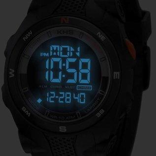KHS Tactical Watches Sentinel DC - Digital Alarm Chronograph mit Digital Compass KHS Black Eagl Silikonband