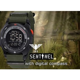 KHS Tactical Watches Sentinel DC Black Alarm Chronograph Nato Oliv