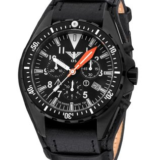 KHS Tactical Watches Missiontimer 3 Operation Timer Chronograph | Leather strap with G-pad | KHS.MTAOTC.R