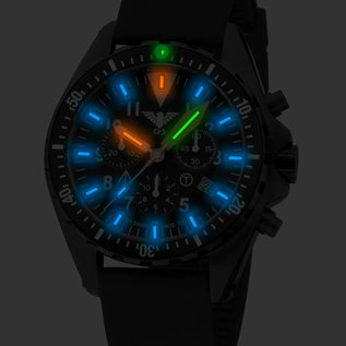KHS Tactical Watches Missiontimer 3 Operation Timer Chronograph mit Lederband + G-Pad  |KHS.MTAOTC.R