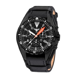 KHS Tactical Watches Missiontimer 3 Ocean Chronograph mit Lederband + G-Pad  | KHS.MTAOC.R
