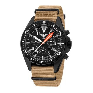 KHS Tactical Watches KHS Missiontimer 3 OCEAN BLUE Chronograph with Nato Band TAN, KHS.MTAOC.NT