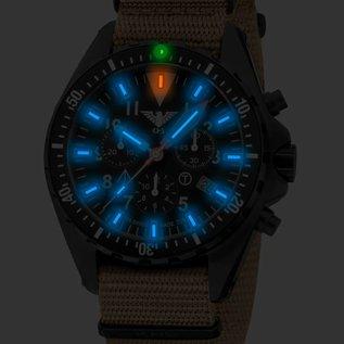 """KHS Tactical Watches Missiontimer 3 """" OCEAN """" blue Chronograph mit sandfarbigen Natoband"""