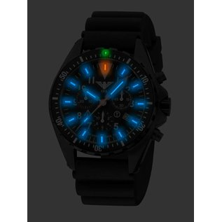 KHS Tactical Watches Missiontimer 3  Ocean Blue H3 Chronograph with black diver silikon strap |  KHS.MTAOC.DB