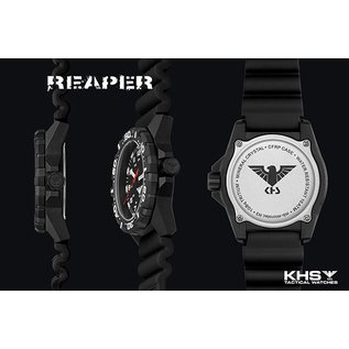 KHS Tactical Watches tactical Watches | Reaper Black buffalo leather bracelet | RED HALO H3 lighting system