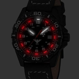 KHS Tactical Watches KHS Reaper mit Büffellederband Black | RED HALO H3 Leuchtsystem