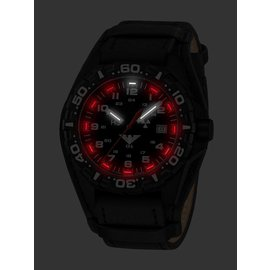 KHS Tactical Watches Red Reaper black G-Pad Leather bracelet