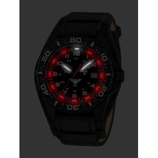 KHS Tactical Watches KHS Reaper mit G-Pad Lederarmband Black | RED HALO H3 Leuchtsystem