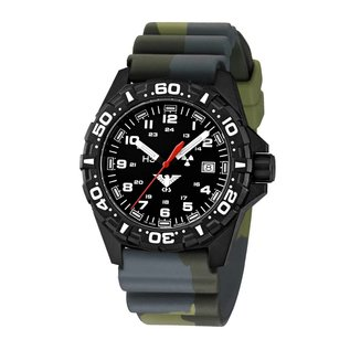 KHS Tactical Watches Tactical Watches   Reaper diver band camouflage olive   RED HALO H3 lighting system