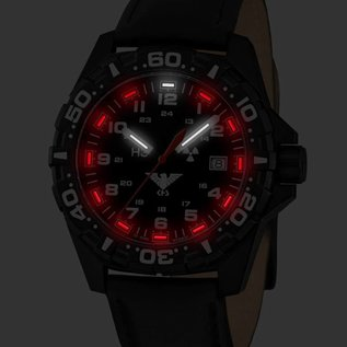 KHS Tactical Watches tactical Watches | Reaper Black leather bracelet | RED HALO H3 lighting system
